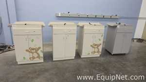 lot of 4 Custom Comfort Medtek Base Cabinets one is on Casters