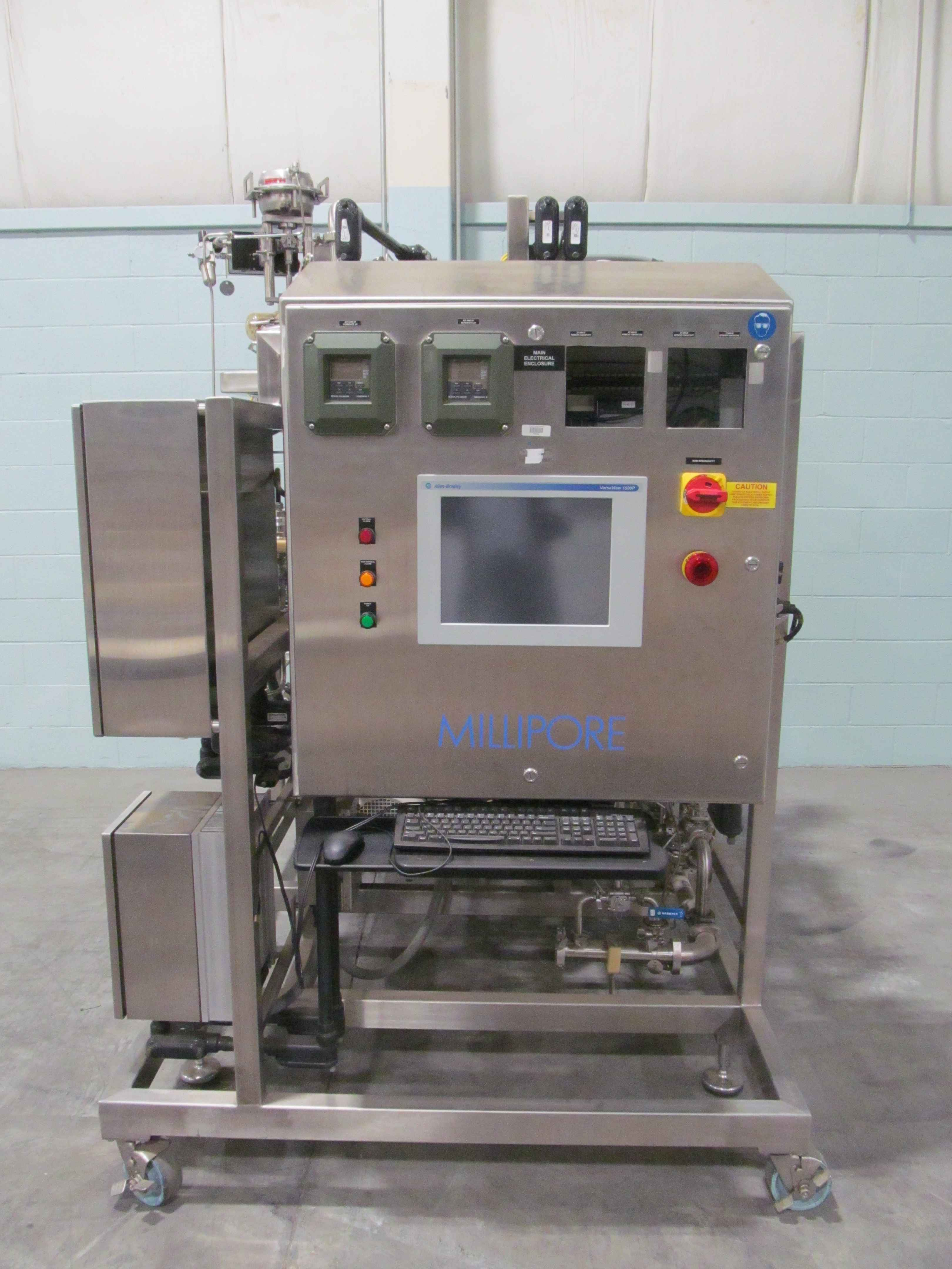 Millipore UF5490 Ultrafiltration System On Rolling Stainless Steel On Rolling Frame