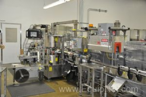 Weiler Sancoa Rotary Labeler with PDC Neck Bander and heat Tunnel Pharma Spec
