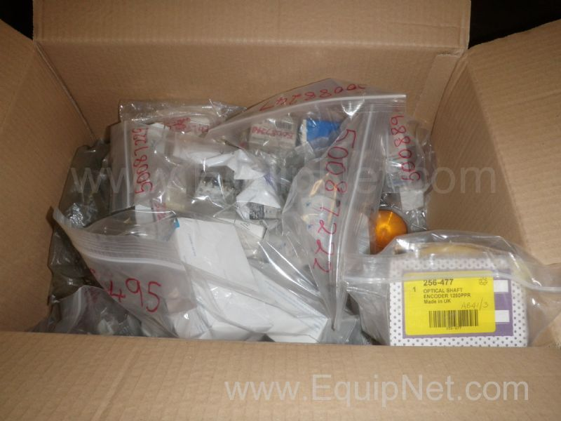 Unused Box of Omron and Telemechanique Electronic Spare Parts including Optical Shaft Encoder as Lis
