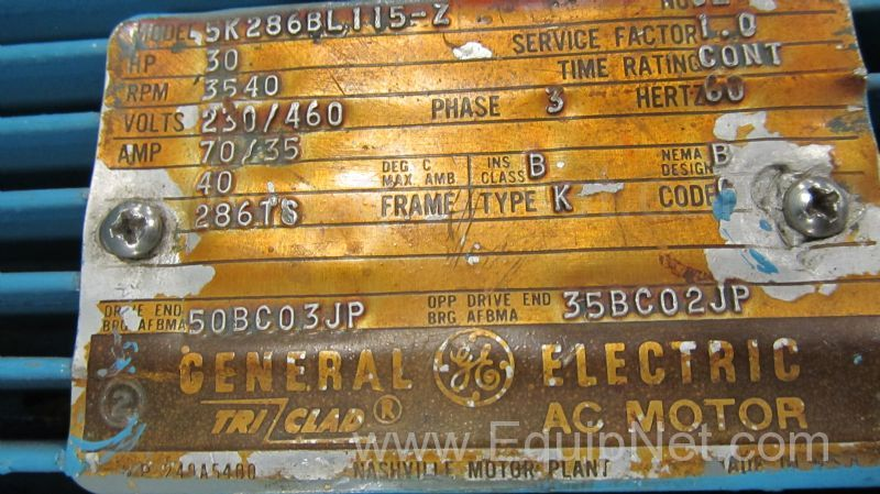 General electric company 30 hp electric motor listing 474864 for General electric motor company
