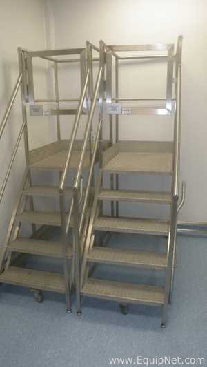 Lot of 2 Stainless Steel Mobile Platforms