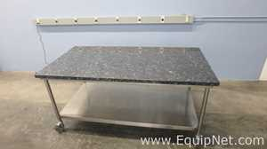 Lot of 3 Granite Top Stainless Steel Work Tables 75in x 39in