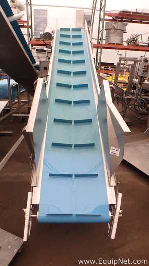 Stainless Steel Bulk Transfer Flighted Conveyor 20 Inches Wide With 89 Inch High Discharge