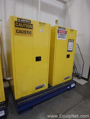Lot of 2 JustRite 55 Gallon Flammable Cabinets on a Common Spill Containment Pallet
