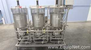 Three Tank Mixing Skid with Matching Positive Displacement Pumps