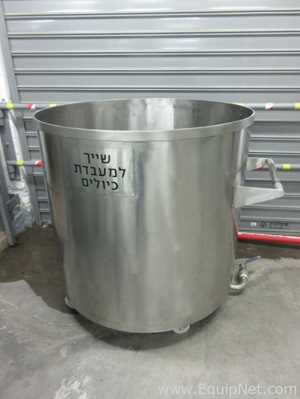300 Gallon Stainless Steel Open Tank On Casters