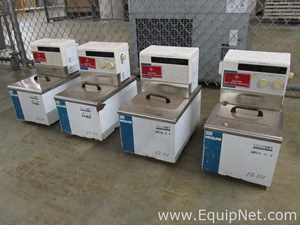 Lot of 4 Neslab EX-111 Recirculating Baths with Scientific Industries Genie-2 Vortex Shaker