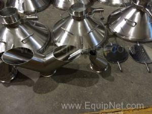 Lot of 10 Stainless Steel Funnels with Muller Valves