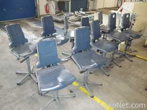 Lot of 10 off Dark Blue Padded Plastic Height Adjustable Swivel Production Operator Chairs