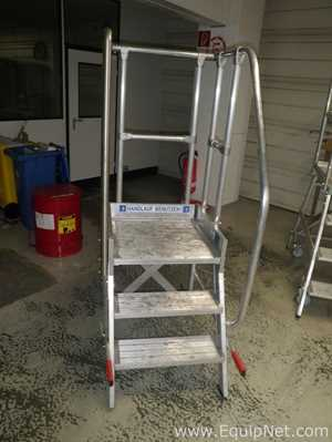 Gunzburger Steigtechnik GmbH Mobile Handrailed Alloy Platform Step Ladder