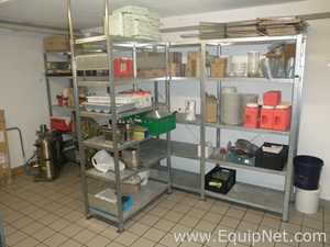 Lot of 5 off Galvanised 5 Level 150 Kgs SWL Shelved Canteen Food Storage Racking Systems