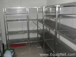 Lot of 2 off Stainless Steel Canteen 150 kg SWL Cold Room Food Storage Racking Systems