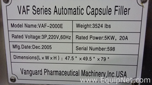 Vanguard Pharmaceutical Machinery VAF-2000E Capsule Machine/Dip