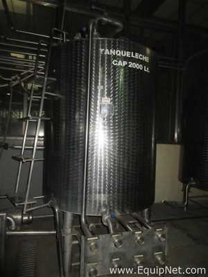 2000 Litros Stainless Steel Mixing Tank With Pump Discharge