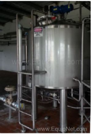 APV 2000 Liter Stainless Steel Jacketed Incubation Vessel