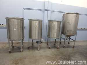 Lot of 4 C.E. Howard Corporation Approx 480 Gallons Vertical Stainless Steel Tanks
