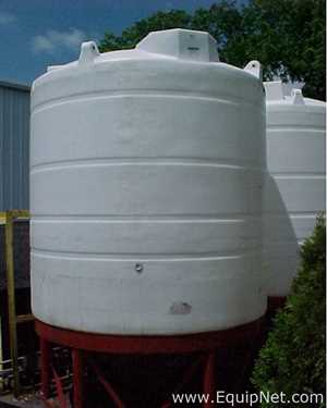 Lot of 2 3400 Gallon Closed Top Polypropylene Tanks on Cone Stands