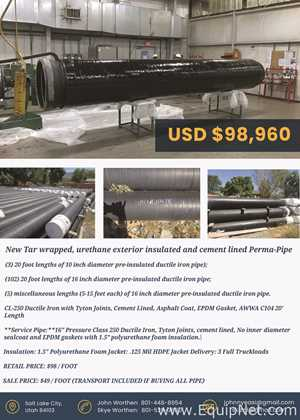 """United States Pipe-Perma-Pipe 16"""" w/tyton joints,asphalt coated,polyurethane insulated,cement lined"""