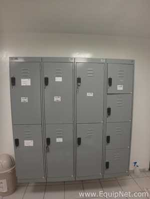 Lot of 4 PM Steele Metal Lockers of 2 and 4 Compartments