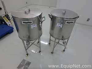 Lot of 2 Stainless Steel Vertical 45 L Tanks on casters
