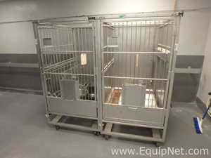 2 Allentown Portable Stainless Steel Large Animal Cages