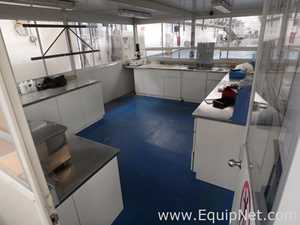 Lot of Metallic Laboratory Furniture with Stainless Steel Cover