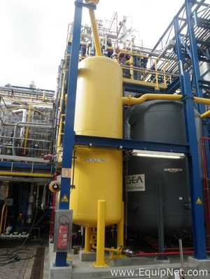 Ivens T0003 Unjacketed 6300 Liters Capacity Yellow Painted Vertical Waste Product Storage Tank