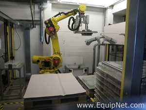 Fanuc R 2000iB Robotic De Palletising System for Empty Shrinkwrapped 11x8 Glass Bottle Trays